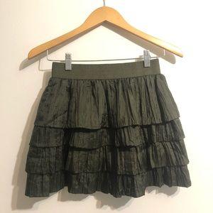 J. Crew Green Silk Crinkle Tiered Ruffle Skirt